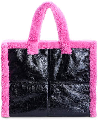 Stand Studio Lola Large Faux Shearling-Trimmed Tote