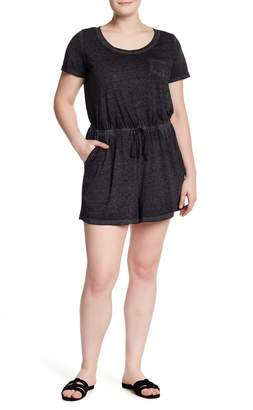 Planet Gold Short Sleeve Burnout Romper (Plus Size)