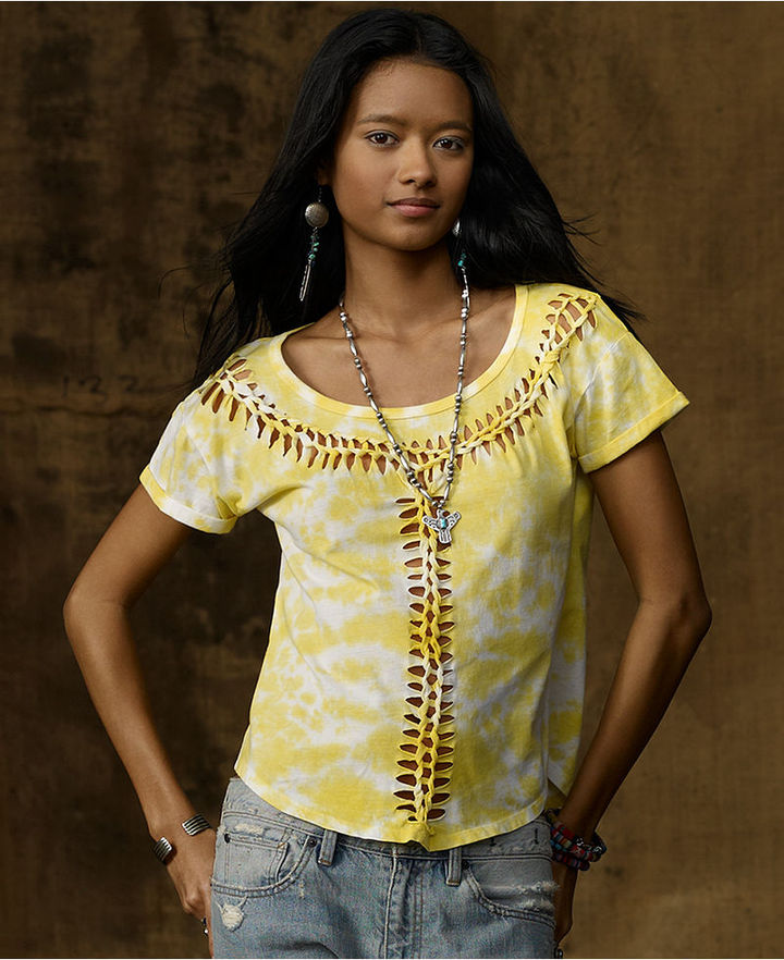 Denim & Supply Ralph Lauren Top, Short-Sleeve Printed Braided Tee