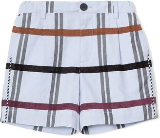 Burberry Windowpane Check Cotton Tailored Shorts