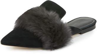 Sigerson Morrison Dawn Suede Fur-Strap Mule