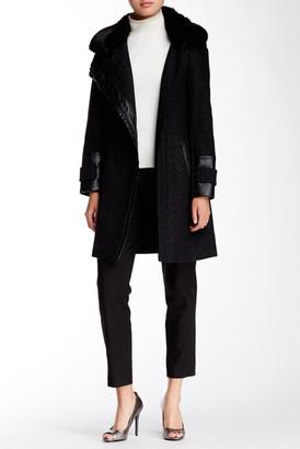 Via Spiga Novelty Faux Fur Collar Asymmetrical Zip Herringbone Coat $360 thestylecure.com