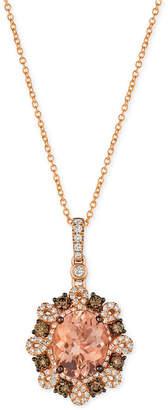 LeVian Le Vian Peach Morganite (2-3/8 ct. t.w.) and Diamond (3/4 ct. t.w.) Pendant Necklace in 14k Rose Gold
