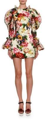 Dolce & Gabbana Puff-Shoulder Floral Mini Dress