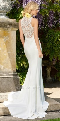 Camille La Vie Crepe racer back wedding dress $600 thestylecure.com