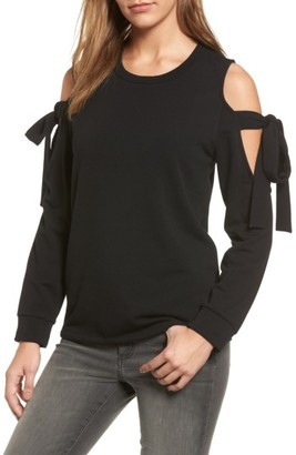 Women's Pleione Cold Shoulder Tie Sleeve Sweatshirt $69 thestylecure.com