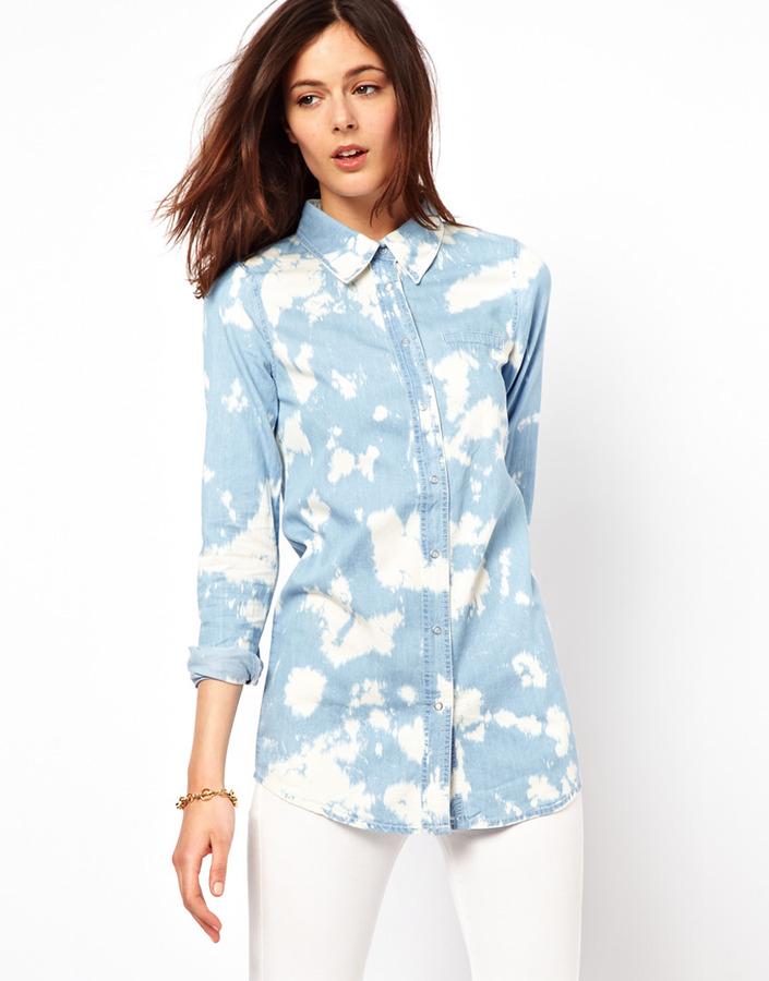 Vila Bleach Spot Denim Shirt