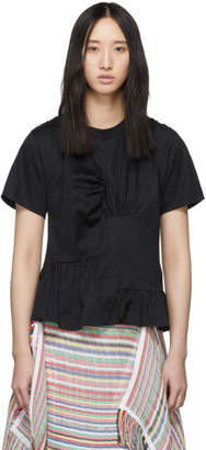 Marques Almeida Black Panelled Gathered T-Shirt