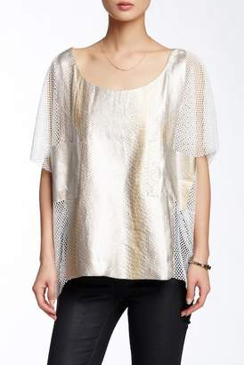 TOV Snake Skin Embossed Vegan Leather Mesh Blouse