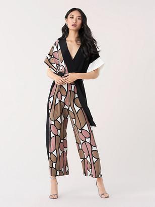 Diane von Furstenberg Foye Silk Crepe de Chine Belted Jumpsuit