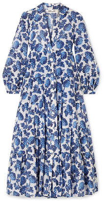 Diane von Furstenberg Kiara Printed Cotton And Silk-blend Midi Dress - Blue