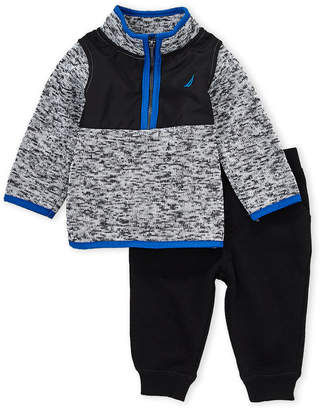Nautica Newborn Boys) Two-Piece Marled Quarter-Zip Pullover & Joggers Set