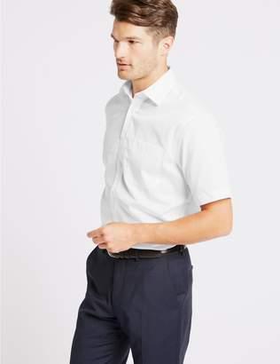 Marks and Spencer Cotton Rich Short Sleeve Regular Fit Shirt