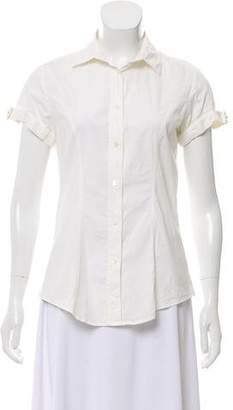 Burberry Short Sleeve Button-Up Top
