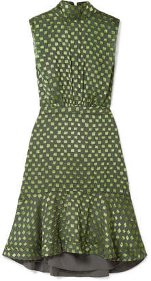 Saloni Fleur Ruffled Fil Coupé Silk-blend Dress - Green