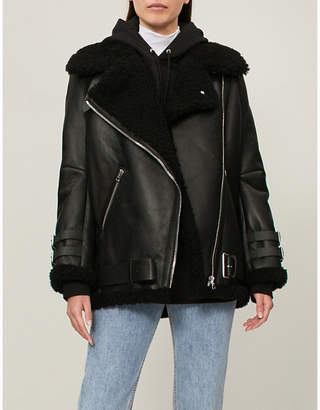 Acne Studios Velocite shearling and leather aviator jacket