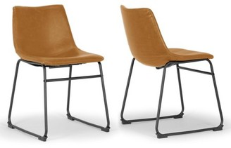 Glamour Home Set of 2 Adan Iron Frame Vintage Cappuccino Faux Leather Dining Chair