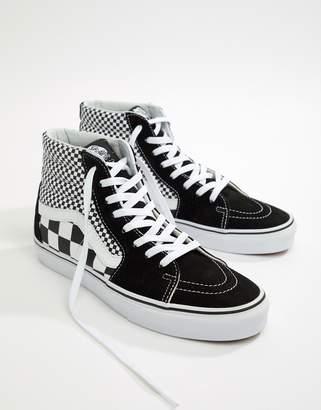 a6ddfe433073 Vans SK8-Hi Checkerboard Trainers In Black VA38GEQ9B