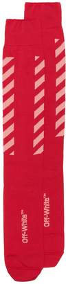 Off-White red long diagonal stripe logo socks