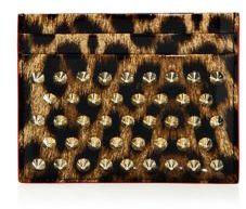Christian Louboutin Christian Louboutin Kios Studded Leopard-Print Leather Card Case