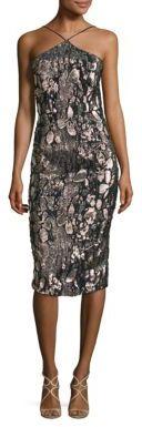 Theia Metallic Jacquard Halter Dress $695 thestylecure.com