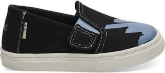 cc1d5c17f35 Black Canvas Glow In The Dark Tiny TOMS Luca Slip-Ons