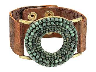 M&F Western Circle Turquoise Stones Leather Bracelet
