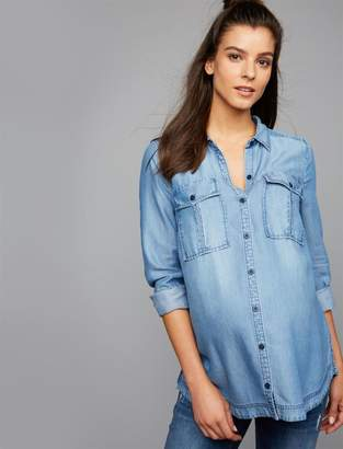 A Pea in the Pod Luxe Essentials Denim Button Front Maternity Shirt