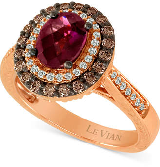 LeVian Le Vian Chocolatier Raspberry Rhodolite (1-1/6 ct. t.w.) & Diamond (5/8 ct. t.w.) Ring in 14k Rose Gold