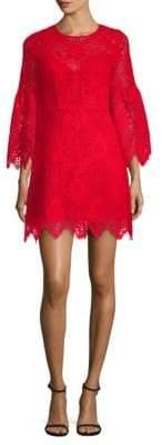 BCBGMAXAZRIA Lace Bell-Sleeve Shift Dress