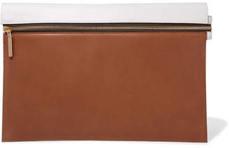 Victoria Beckham Two-tone Leather Pouch - Tan