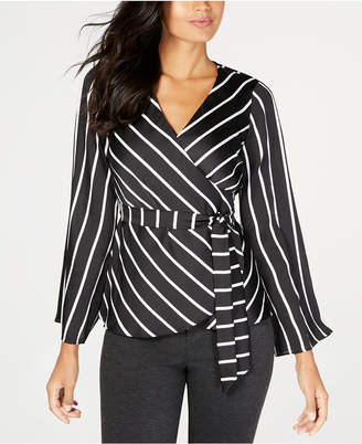 INC International Concepts I.n.c. Striped Bell-Sleeve Wrap Top
