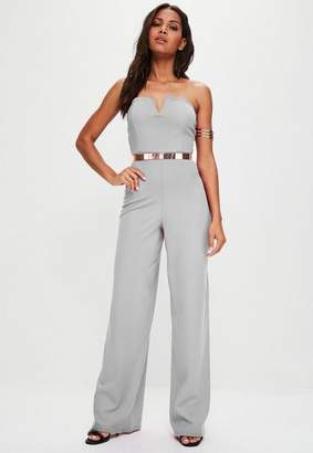 Missguided Gray V Bandeau Wide Leg Romper