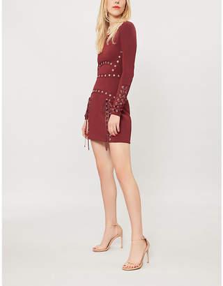 Elie Saab Eyelet-embellished stretch-jersey dress