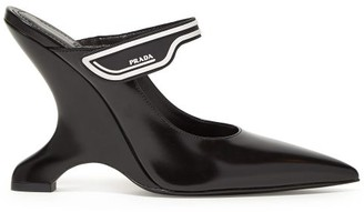 Prada Logo Strap Leather Mary Jane Mules - Womens - Black