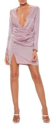 Missguided Long-Sleeve Panel Sheath Dress