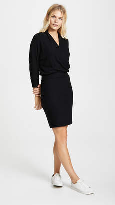 Three Dots Ribbed Knit Wrap Dress
