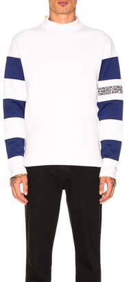 Calvin Klein Striped Sleeve Mock Tee