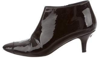 Chanel Patent Leather Round-Toe Booties