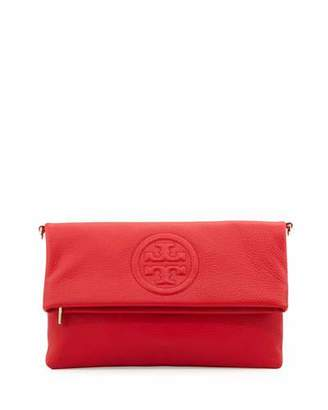 Tory Burch Bombe Fold-Over Clutch Bag, Brilliant Red $395 thestylecure.com