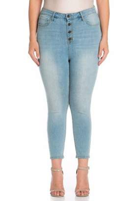 Cello Juniors' Plus Light Wash High Rise Skinny Jeans with Exposed Buttons