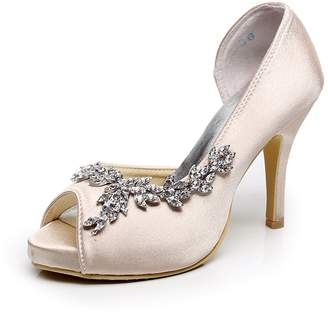 e0bbf9382c0 at Amazon Canada · Minishion GYMZ632 Womens Peep Toe Kitten Heel Champagne  Satin Bridal Wedding Applique Shoes