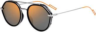 Men's Round Metal/Acetate Sunglasses with Double Bridge