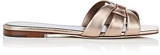 Saint Laurent Women's Nu Pieds Metallic Leather Slide Sandals - Gold
