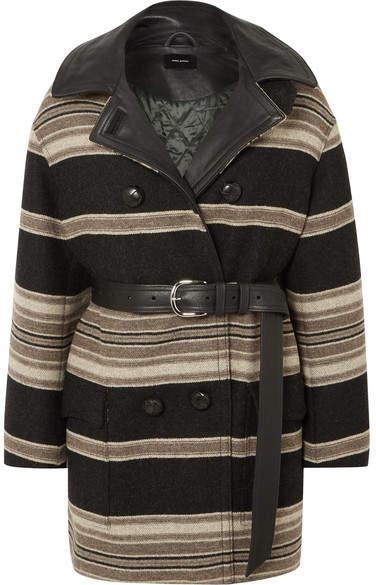 Hilda Belted Striped Wool-blend Coat - Black