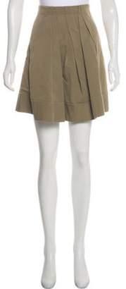 Brunello Cucinelli Pleated Mini Skirt Olive Pleated Mini Skirt