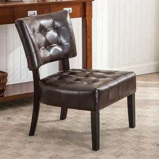 Roundhill Furniture Roundhill Blended Leather Tufted Accent Chair with Oversized Seating, Multiple Colors Available
