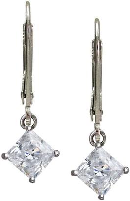 Diamonique 2 ct tw Princess Cut Lever Back Earrings