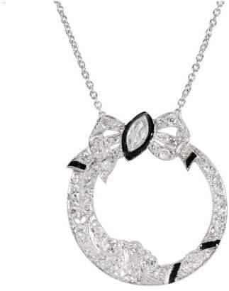 Platinum and 14k White Gold Black Enamel Diamond Bow Vintage Pendant Necklace