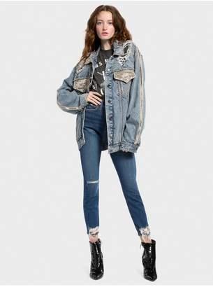 Alice + Olivia Oversized Crystal Denim Jacket